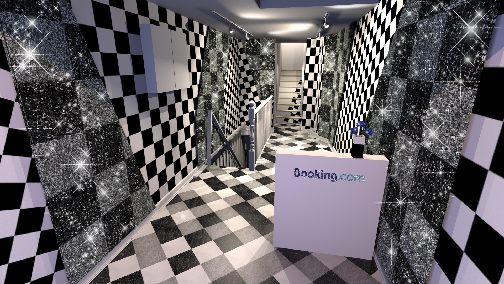 Booking.com House of Sparkle gound floor entrance render viusal