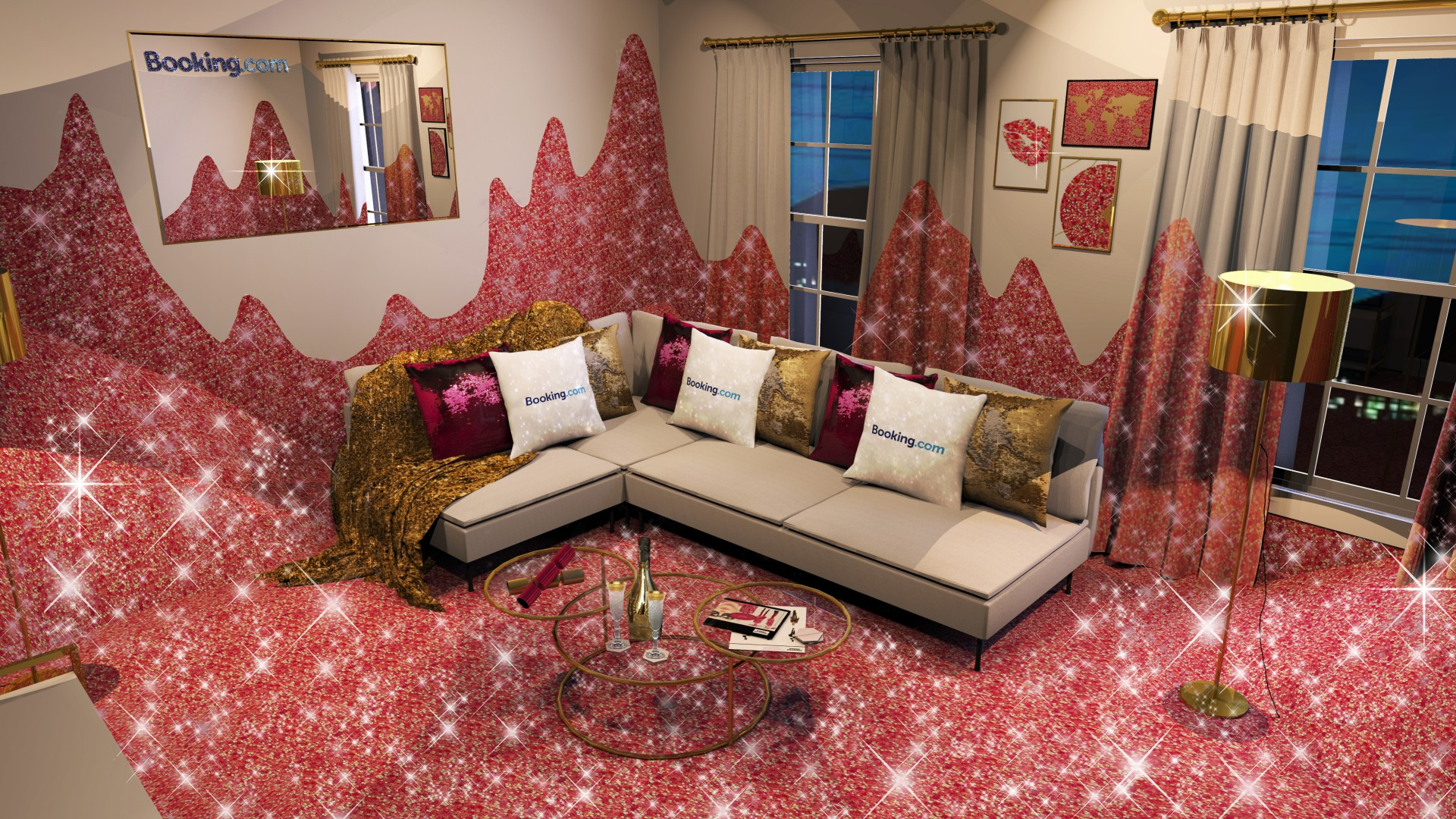 Booking.com House of Sparkle living room render visual