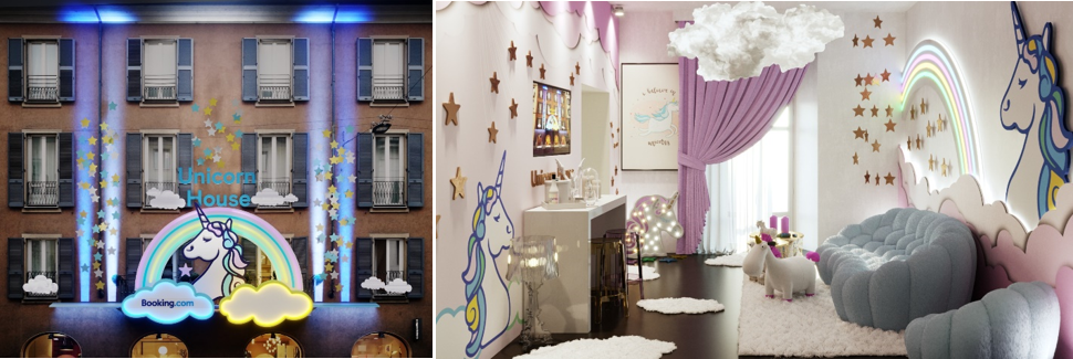 Booking.com Unicorn house top