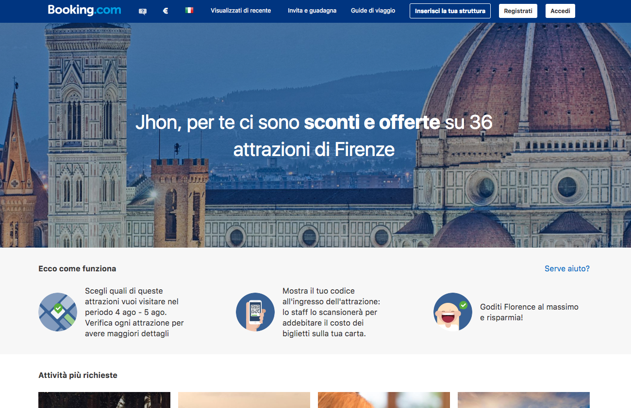 Booking Experiences Florence