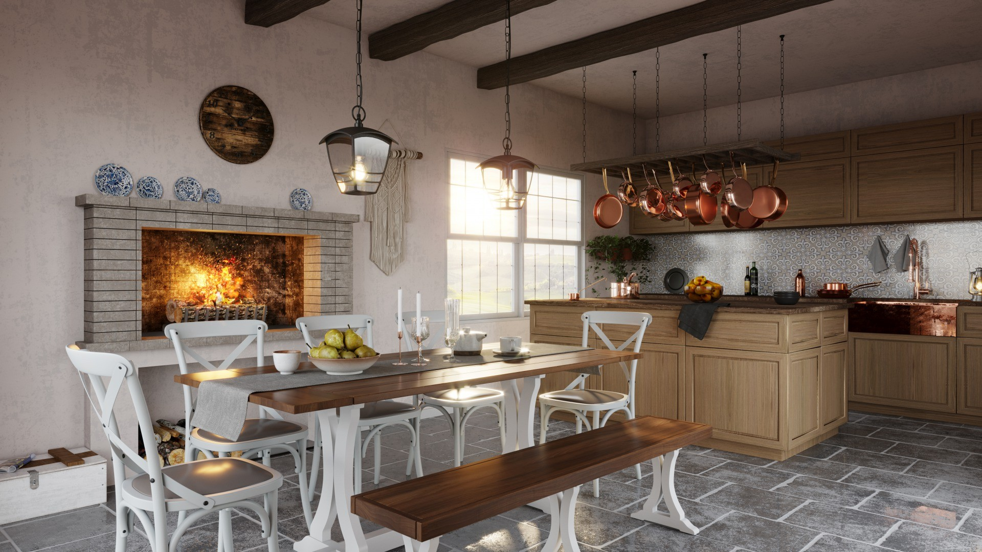 s_Country farmhouse kitchen