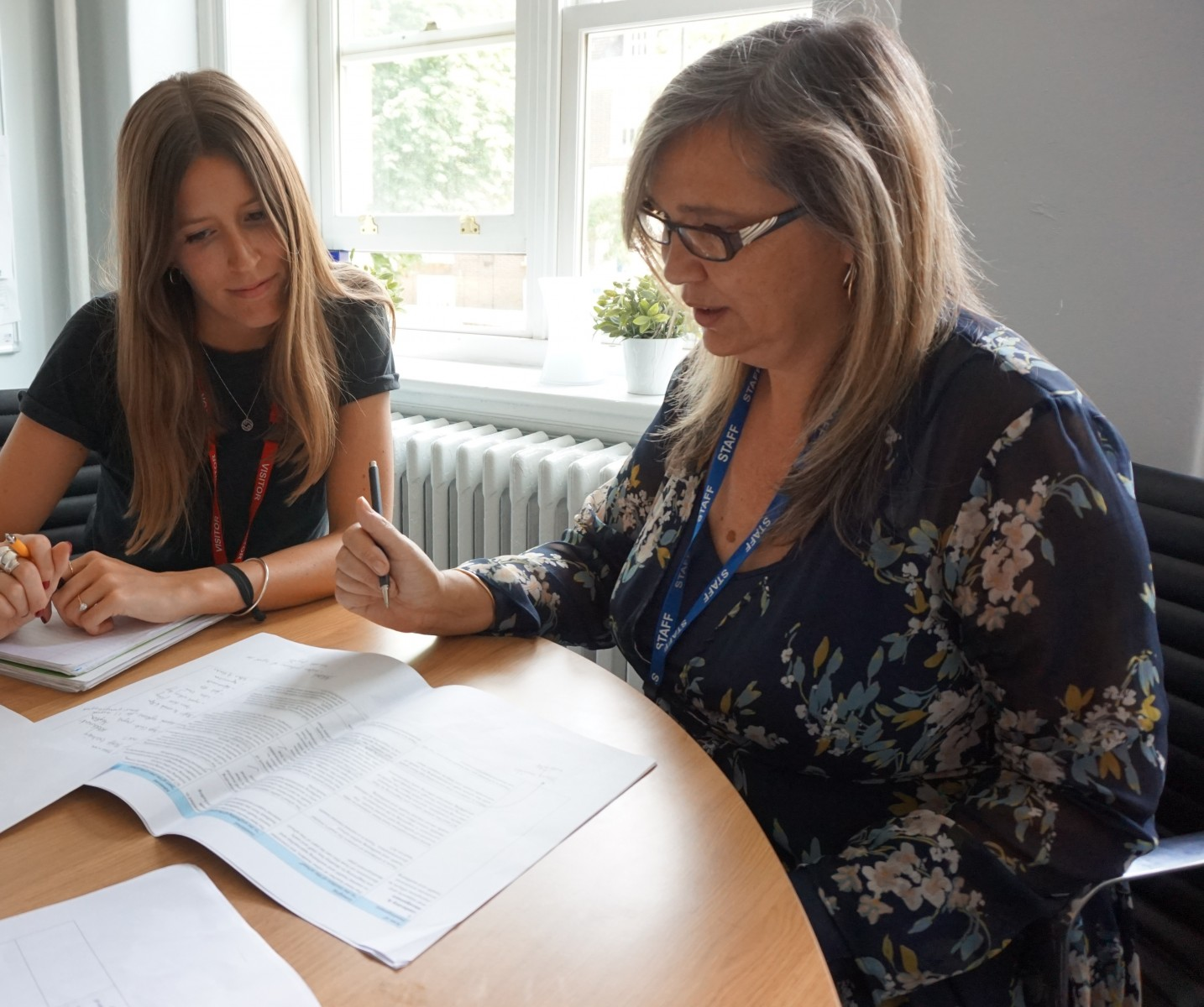 Fay Day, SEND Coordinator and Mental Health Lead, and Annie McHugh, CAMHS Clinical Psychologist, working together at Mossbourne Parkside Academy