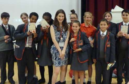 Pupils from Mossbourne Academy meet Katherine Rundell