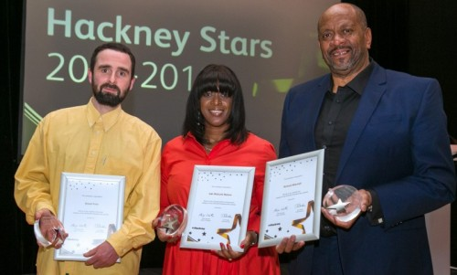 The winners of Hackney School Stars 2019 L Donal Friel M Jaki Walcott Nelson R Richard Mitchell
