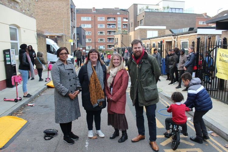 1 (From L to R) Cllr Sade Etti, Cllr Sophie Cameron, Jane O'Brien, Headteacher at St Mary's and Cllr Jon Burke, Cabinet Member for Energy, Waste, Transport and Public Realm