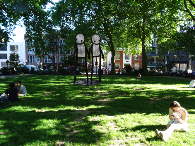 Hackney Pride Holding Hands Stik Statue project Hoxton Square