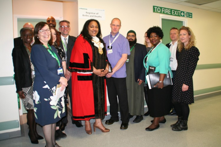 Hackney Registration Service members and Hospital staff with the Speaker