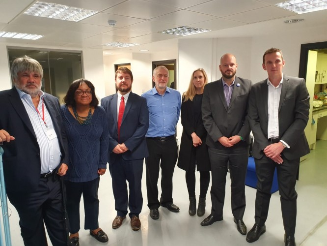 (L to R) Ian Marchant, Thames Water Chairman, Diane Abbott MP, Cllr Andy Hull, Jeremy Corbyn MP, Cllr Caroline Selman, Philip Glanville and Steve Spencer, Thames Water Chief Operating Officer