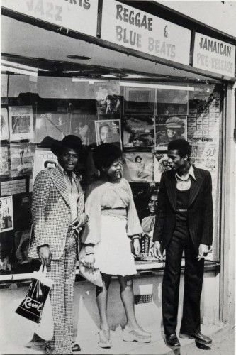 Outside  Muzik City, Ridley Road, Dalston, c1970s.  Image courtesy of Hackney Archives.  © unknown
