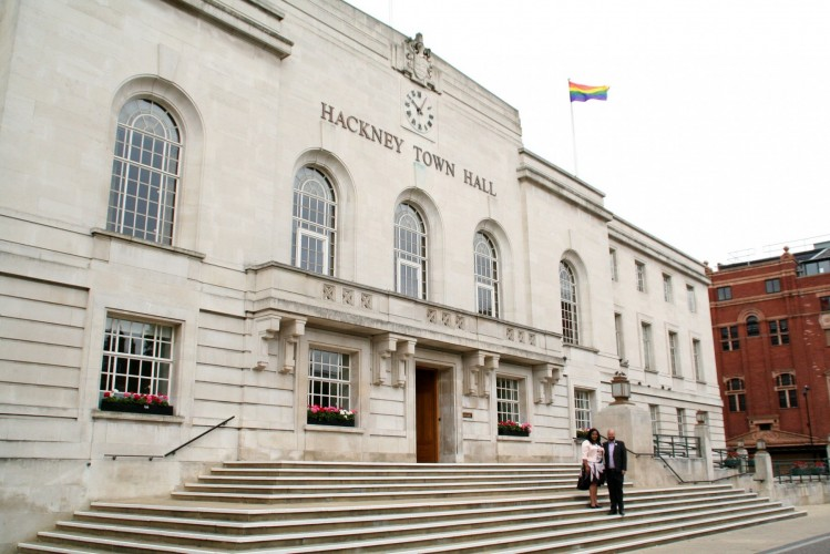 Rainbow Flag over Hackney Town Hall