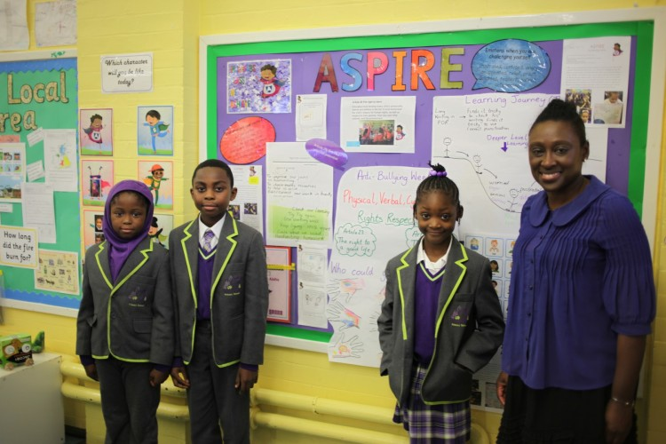 Representatives from the School Counil, Green Team and Rights Respecting School group spoke to Deputy Mayor Bramble