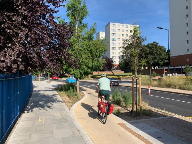 The new Wick Road, with protected cycle lanes, 40 new trees and two-way traffic (1)