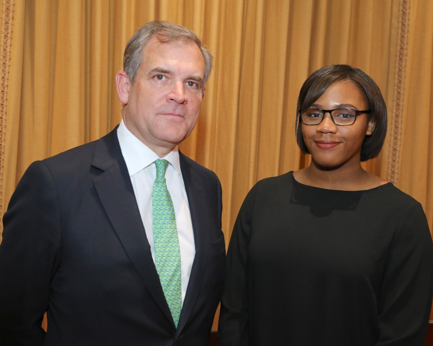 Lloyd's chairman Bruce-Carnegie-Brown and sixth form student Shenice Osisioma